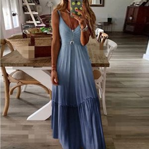 Mode féminine Designer Robes Casual New Arrivée Femmes Robe sans manches 6 couleurs d'été plage robes taille S-5XL PH-YF203123