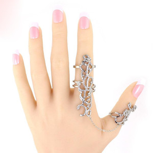 2016 New Gothic Punk Rock Rhinestone Cross Knuckle Joint Armor Long Full Adjustable Finger Rings Gift for women girl Fashion jewelry