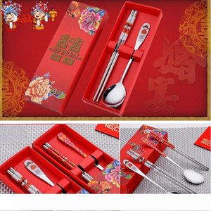 A Stainless Steel Dinnerware Double Happiness Red Color Spoons Chopstick Sets Wedding Party Gifts For Guest Party Favor 2 styles