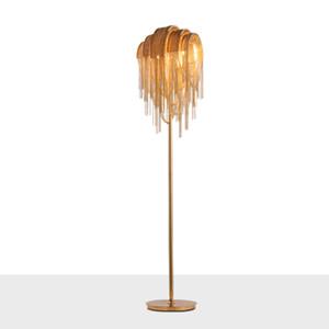 Modern silver led lighting floor lamp for living room table lamp with gold fringe for bedroom aluminum floor light for kitchen