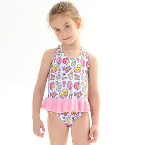 Plage Maillot de Bain One Piece Spa Maillot Little Girls Maillots de bain pour les costumes bébé fille rouge nager avec Volants 2020 Nouveau 1 vêtements de bain