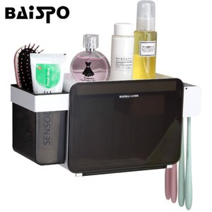 Baispo Multifunctional Bathroom Accessory Set Box Toothpaste Toothbrush Holder Set Toothbrush Wall Mount Stand Bathroom Tools Y19061804