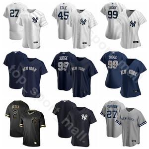 2020 Hombres Mujeres Jóvenes de béisbol 26 DJ LeMahieu Jersey 45 Gerrit Cole 99 Aaron Juez 25 Gleyber Torres 11 Brett Gardner blanca del equipo