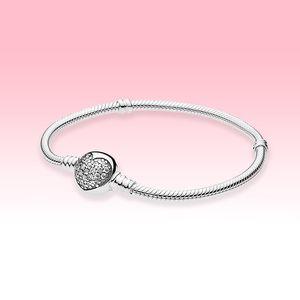 Women CZ diamond Love hearts Charms Bracelets with Original box for Pandora 925 Sterling Silver Sparkling Heart Clasp Snake Chain Bracelet