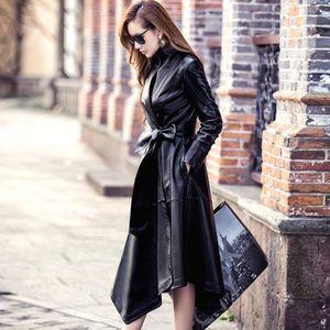 Wholesale-2019 Frauen-Winterjacke Damen Lederjacke Langer Trenchcoat zweireihige Tunika-beiläufige Mantel-Frauen Leder-Mantel-Jacke