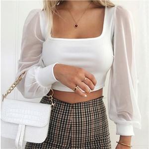 Donne sexy solido camicia sottile Solid Square-Collo maniche lunghe camicetta solido manicotto lungo sottile Square-Collo Womens Tops e camicette