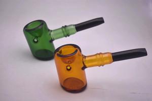 alta qualità mini basamento di vetro sherlock tubo di fumo tubo cucchiaio laboratori protable vetro mano per l'erba asciutta
