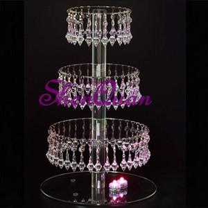 4 camada rodada de vidro acrílico bead cupcake tower stand com pendurado acrílico cristal bead-festa de casamento bolo torre / cake tree stand