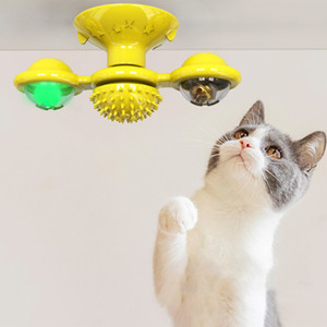 Cat sucker windmill toy tease cat grind face scratch scratch hair catnip turn windmill grinder with LED glow rotating windmill