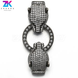 2pcs 21*50mm Glittering Connectors Brass Cubic Zirconia Clasps Hooks for DIY Jewelry Findings Accessories, Model: VK69