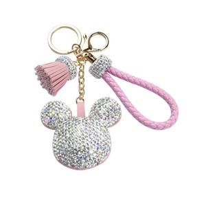 Women Rhinestone Key Chain Korea Cute Bling Mouse Keychain Pendant Female Car Key Ring Tassel Hanging Bag Charm Pendant Gift for Girls