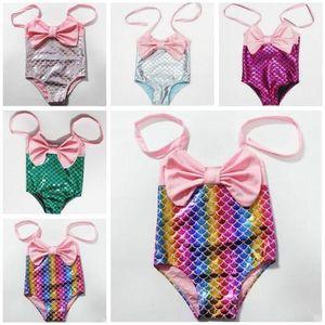 Bambino Costumi da bagno bambini Swimwear ragazze Mermaid Principessa sveglia Swimwear Halter Bikini Swimsuit Bowknot di moda estate costume da bagno Beachwear C613