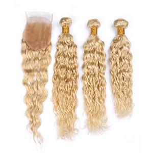 Бразильская Blonde Human Плетение волос Пучки Влажная и волнистая с Closure Water Wave # 613 Blonde 4x4 фронта шнурка Закрытие с Virgin утков волос