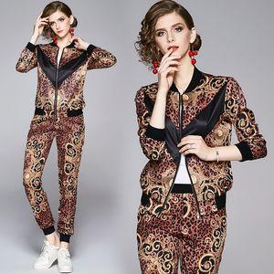2020 мода женские леопардовые два частя наборы с длинным рукавом куртки + длинные брюки 2 шт. Designway Designer Печатные дамы Две штуки Брюки