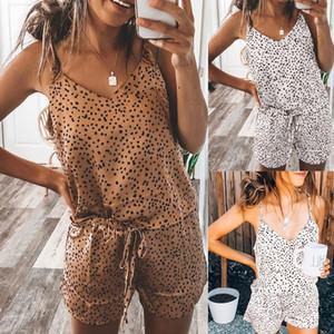 Women Satin Lace Silk Print Camisole Shorts Bow Set Sleepwear Pajamas Lingerie Heart Shape Dot Print Pajamas Set Home Clothes Y200708