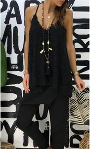Camisetas sin mangas con cuello en V sin respaldo Diseñador tapas atractivas mujeres de la manera femenino del verano del chaleco del cordón de Condole