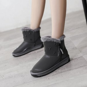 Winter New Women Flock Plush Lining Ankle Fur Snow Boots Flat With Black Gray Letter Emu Boots Fashion Cotton Shoes