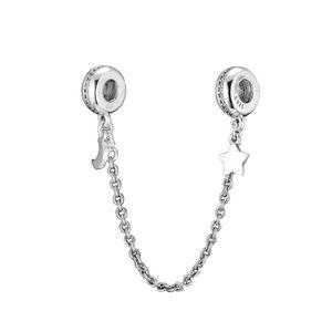 Nueva cadena de 925 Clip Sterling Silver Charm Bead espumoso estrella de la luna con el cristal de seguridad de la joyería cabida los granos del encanto de la pulsera DIY Marca