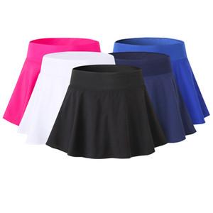 Femmes Sport Jupe de tennis jupes rapidement pantalons Yoga sec Shorts Deux couches de compression de yoga Jupe Gym sport vêtements féminins en gros