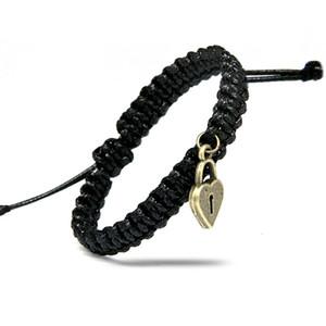 Black Red White Braceletes para mulheres com Classical Cadeia Rope Antique Bronze Key Lock Tamanho Presentes dos amantes de jóias Ajuste