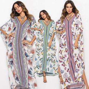 2020 nuovo stile di modo di estate delle donne elegante abito Lond vacanze Maxi allentato Vestito estivo con stampa floreale con scollo a V maniche a pipistrello Boemia Abiti