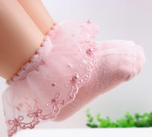 2 colors baby girl socks new arrivals 100% cotton Lace Beading sock children's comfortable good quality Princess socks size 0-12T