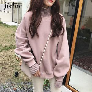 Jielur Kore Stil Büyük Boy Kapüşonlular Kadın Kış Sahte İki adet Turtleneck Kadın Kazak Gevşek Kalın Fleece Kazaklar T191217