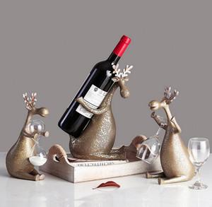 Retro Deer Wine Rack Holder Estatua Abstracción Animal Colofonía Artesanía Inicio Accesorios L2934