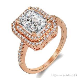 Funkelnde Luxuxschmucksachen Victoria choucong 925 Sterlingsilber FilledRose Gold-Princess Cut Weiß Topaz CZ-Diamant-Frauen Wedding Band Ring