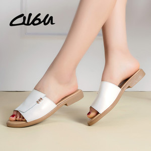 O16U Women Sandals Flip Flops Summer Fashion Rome Slip-On Non-slip Genuine Leather Shoes Woman Slides Solid Casual Female Mules