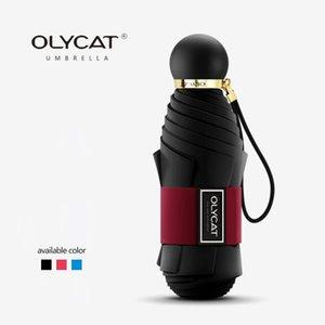OLYCAT карманный мини ВС Зонтик Anti UV Пять Складные зонтики дождь Женщины Зонт Марка Солнцезащитный Зонтик Стекловолокно Paraguas