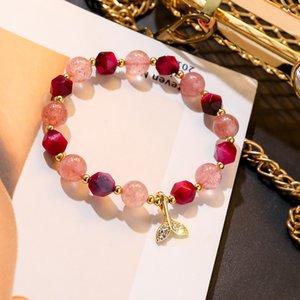 Korea Temperament Sweet Rhinestones Fishtail Strawberry Crystal Transfer Bracelet Simple Fashion Women Girl Jewelry Accessories