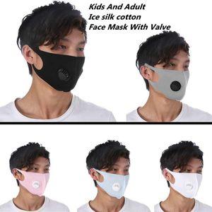 Máscara Adulto e Crianças Dustproof rosto Respirar válvula máscara máscaras reutilizáveis anti-poeira Haze PM2.5 Ice Silk algodão ZZA1871