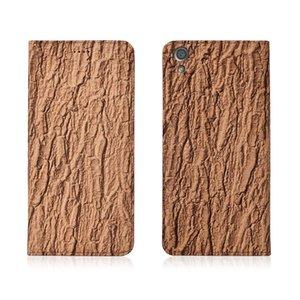 Caso di vibrazione del cuoio genuino modello corteccia per Sony Xperia XA1 Plus Custodia per cellulare con supporto di carta per Sony Xperia XA1 Plus Phone Bag Kickstand