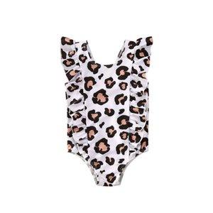 Новорожденного Ребенка девушки купальник Leopard оборками Комбинезоны Купальники Пляж купальный костюм Bodysuit