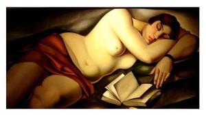 menina que dorme Tamara De Lempicka nua com o livro Home Decor pintado à mão HD cópia da pintura a óleo sobre tela Wall Art Canvas Pictures 191130