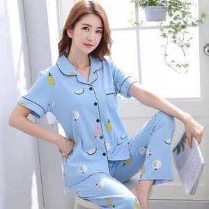 Mujer Pyjamas Imprimé Summer Short Sleeve Cotton Pyjamas Ensemble deux pièces Femmes Sleepwear Sexy Nightwear pour femme Sleeping IOUFD