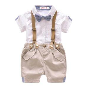 Kids Clothing Set Summer Boys Gentleman Shirts And Straps Pants Children Set Party Suit