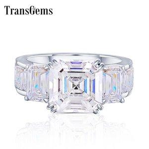TransGems Solid 18K Белое Золото 10мм Ашер Cut GH Цвет Муассанит Обручальное кольцо для женщин с Emerald Cut Акценты