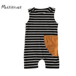 Multitrust 2020 Bebek Kız Erkek Kaburga Çizgili Kolsuz Tulum Bebek Yuvarlak Yaka Pull-on Tulumlar Şort
