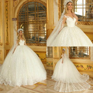 Luxury Dubai Wedding Dresses Puffy Illusion Long Sleeve Lace Appliques Bridal Gowns Tulle Sweep Train Ball Gown Wedding Dress