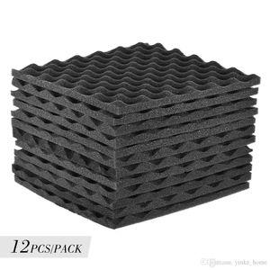 12 шт звукоизоляционная пена студия акустических пенопластов панели клинья 12x12 дюймов звукоизоляционная абсорбционная панель обработки