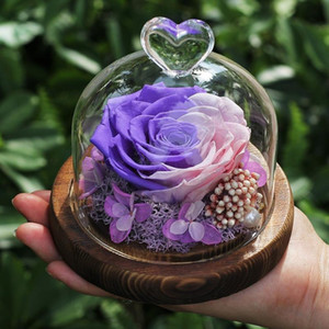 Hot Beauty And Beast Rose Flower Stamen Valentine's Day Wedding Decoration Preserved Immortal Fresh Rose In Glass Birthday Gift