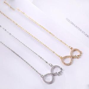 Zircon Blanc Collier Forever Love Infinity coeur amour Collier d'or chaîne d'argent pour Bijoux Journée de la femme Saint-Valentin