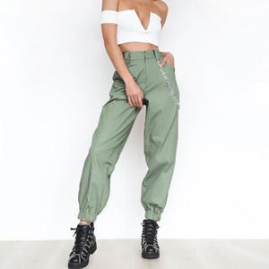Calças de cintura alta camuflar calças calças camo corredores Loose Women exército harém do punk carga capris para mulheres calças 2018