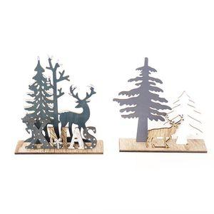 Christmas Ornaments Wooden Elk Xmas Tree DIY Crafts Home Party Garden Decor Christmas Gift