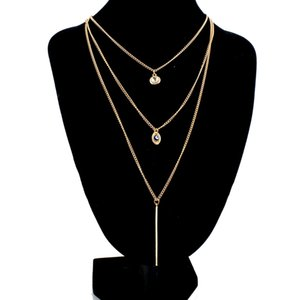 ATTRACTTO Crystal Gold Color Multi-Layer Chain Necklaces For Women Accessories Evil Eye Long Layered Necklace Jewelry SNE150823