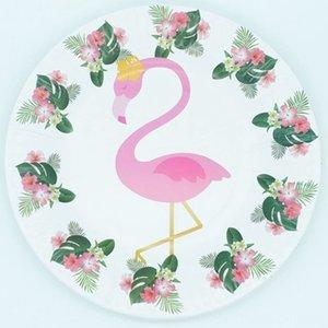 Kağıt Olay Şenlikli Parti Malzemeleri Tabaklar Payet Peçeteler Kağıt Serviettes Tabaklar Bardaklar Sofra Flamingo Tropik Hawaii Bölüm Malzemeleri