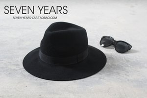 femminile di lana di feltro cornice tiro cap cornicione classico della via VC tutto-fiammifero grande Eaves cappello di feltro di lana cappello