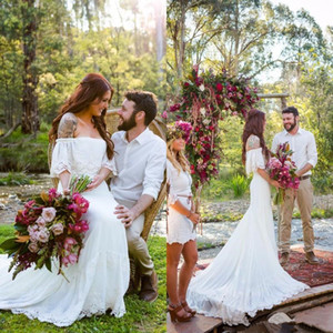 Spring 2020 Latest Bohemian Wedding Dresses Cheap Off The Shoulder Flounce Neckline White Lace and Chiffon Boho Bridal Gowns